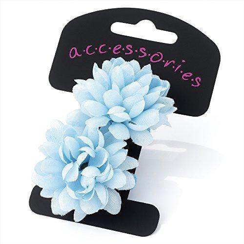 Pair of Mini Baby Blue Flower Hair Ponios Donuts Bobbles Bands Elastics