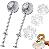 2 Pcs Powdered Sugar Shaker Duster, Stainless Steel Sifter Dusting Wand with 19Pcs Coffee Stencils, Flour Sifter for Baking, Powder Duster, Cinnamon Wand for Meringue Powder Sugar Flour Spicesour