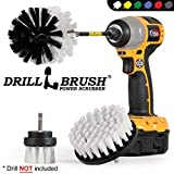 Drill Brush Car Washing and Detailing Power Brush Kit with Long-Reach Removable Extension. Auto Care Set Includes 3 Different Size, Replaceable, Soft White Scrubber Brushes with Quick Change Extender