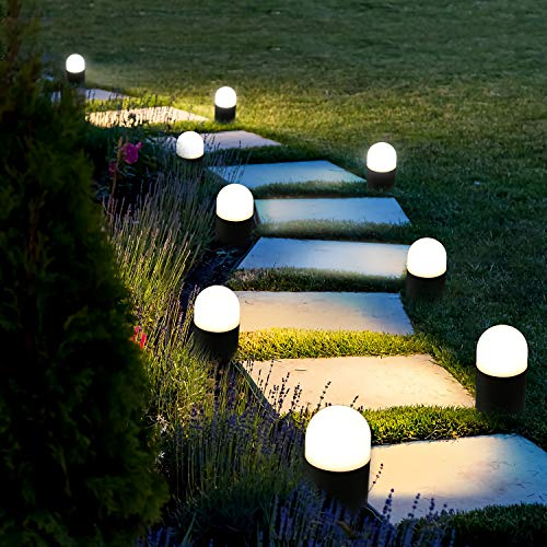 BEEZOK Outdoor Landscape Path Lights Low Voltage 4 Pack LED Round Bollard Small Garden Lighting Fixture, IP65 Paradise Cast Aluminum LED Walkway Light for Pathway, Yard Lawn Driveway(Warm White Lamp)