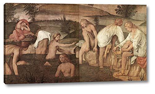 "Girls Bathing by Bernardino Luini - 7"" x 12"" Gallery Wrap Canvas Art Print - Ready to Hang"