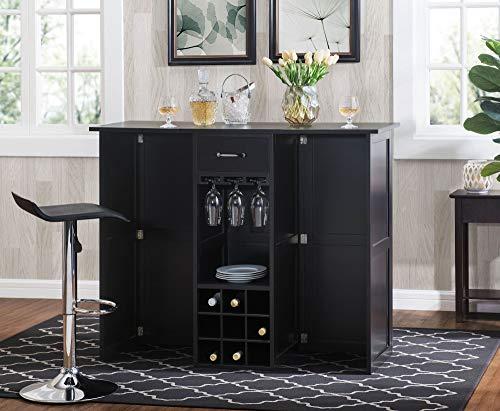 2L Lifestyle Southwood Folding Wine Cabinet Bar, Large,espresso