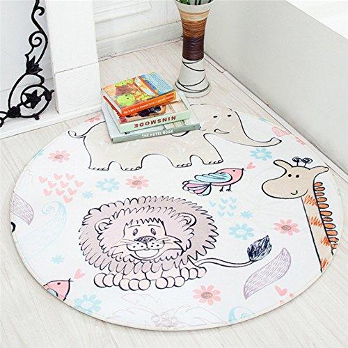 diametro 90 cm Tappetino da gioco per bambini, rotondo, lavabile, per gattonare, per infermiere, antiscivolo, ideale per la palestra, per giocare a piedi, sedie, cuscini, motivo animali città
