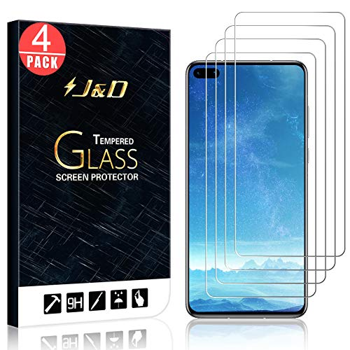 J&D Compatible for Huawei P40 Glass Screen Protector, 4-Pack [Tempered Glass] [Not Full Coverage] HD Clear Ballistic Glass Screen Protector for Huawei P40 Glass Film