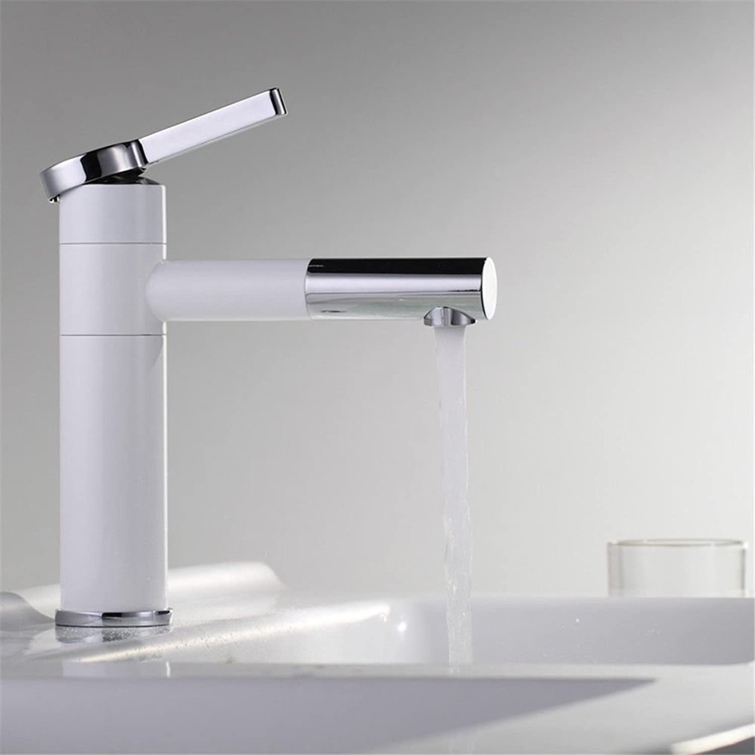 Hlluya Professional Sink Mixer Tap Kitchen Faucet White High Temperature Paint 360 degree swivel faucet antioxidant hot and cold full brass faucets basin mixer