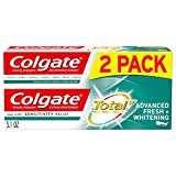 Colgate Total Whitening Toothpaste, Advanced Fresh + Whitening Gel - 5.1 ounce (2 Pack)