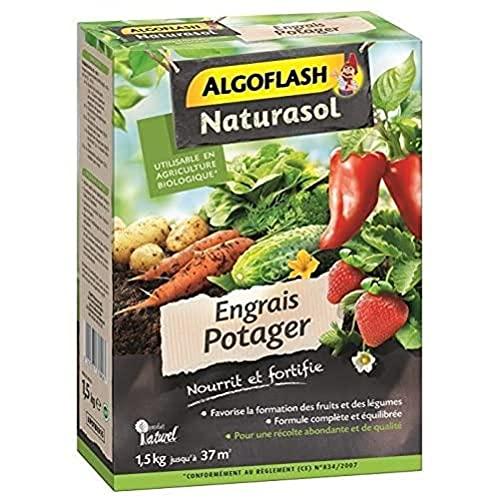 ALGOFLASH NATURASOL Engrais Potager, Jusqu'à 25m², Dosette incluse, 1.5 kg, APOTBIO15