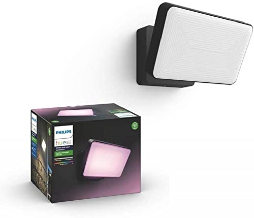 Philips Hue White and Colour Ambiance LED Discover Black Garden FloodLight Compatible with Alexa