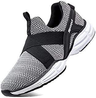 Ezkrwxn Trail Running Shoes for Men Casual Lightweight Boys Slip on Sneakers Grey Size 7.5(576-grey-41) [並行輸入品]