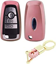 Royalfox(TM) 3 4 5 Buttons TPU Smart keyless Entry Remote Key Fob case Cover Keychain for 2017 2018 Ford Mustang Explorer Edge Fusion Mondeo F150 F250 F350 F450 F550 (Pink)
