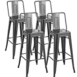 Sophia & William Metal Bar Stools Set of 4, 30 inches Bar Height Counter Stools with Back, Industrial Rustic Dining Chairs for Kitchen Bar Patio Indoor Outdoor, 330lbs, Gunmetal Grey