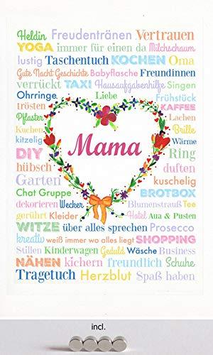 Cartel de chapa de 20 x 30 cm, curvado, incluye 4 imanes para el Día de la Madre, Corazón, Amor, Heldin, taxi