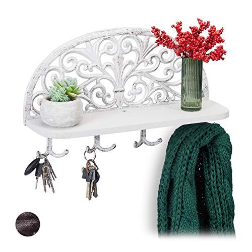 Relaxdays Wandgarderobe mit Ablage, Antik Design, 4 Doppelhaken, Schlüsselbrett, Gusseisen, HBT: 23x39x11,5 cm, weiß