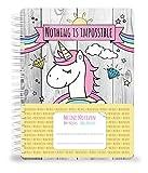 Cuaderno, diario Unicorn DIN A5con un bonitas, simpáticos Unicornio, Arco Iris y...