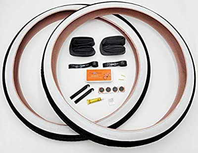26 Inch Bike Tires, Beach Cruiser, Durable Wire Bead Tires White Sidewall, Whitewall 26 x 2.125 Replacement Bike Tire Bundle Kit, 26 in. Inner Tube, 26 in. PVC Rim Liner, and Set of Levers