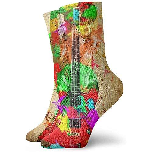 Calcetines Deportivos Mujer con Cuerpo de Guitarra arcoíris Calcetines Deportivos Deportivos Impresos 30 cm de Largo