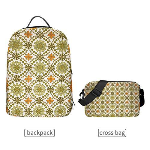DEZIRO groene en oranje bloemen behang textuur schoolpakket met afneembare Cross tas rugzakken