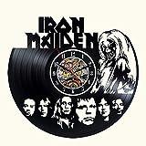 Vinilo Pared Reloj Wall Iron Maiden Decoración Negro Decorativo Moderno Disco de Vinilo Reloj único