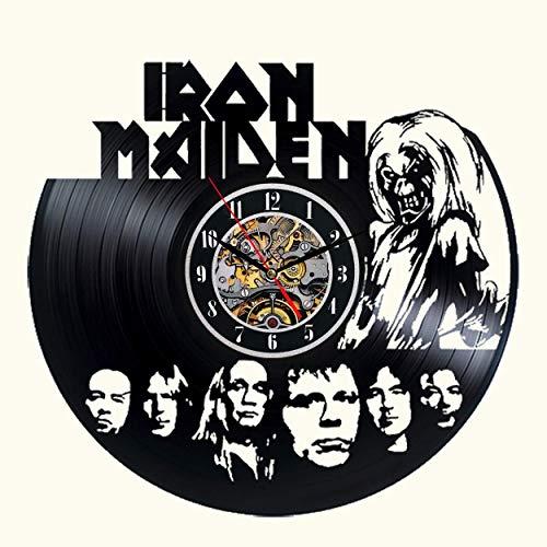 Vinyl-Wanduhr Iron Maiden Dekor schwarz Moderne dekorative Vinyl Record Wanduhr Einzigartige