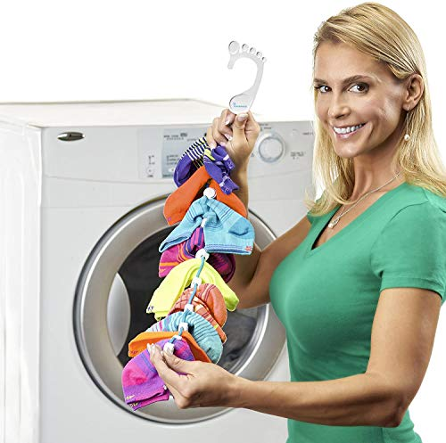 SockDock Sock Laundry Tool - Wash & Dry Paired Socks, no Sorting or Matching, 2 Pack (Clean & Dirty) w/Storage Hangers Organize Closet, Clips & Locks (No Mesh Bag, Bin, Drawer, Divider) - Blue