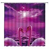 Schwan Duschvorhang rosa lila Ozean Himmel Fantasy Fairy Polyester Badezimmer Home Decor Set enthalten Haken