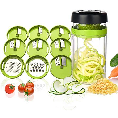 Adoric Gemüse Spiralschneider, 9 in 1 Gemüseschneider mit Behälter, Hand Gemüse Spirallschneider Gemüsehobel Schneider Für Gemüsespaghetti, Kartoffeln, Gurke, Kürbis, Zucchini, Zwiebel