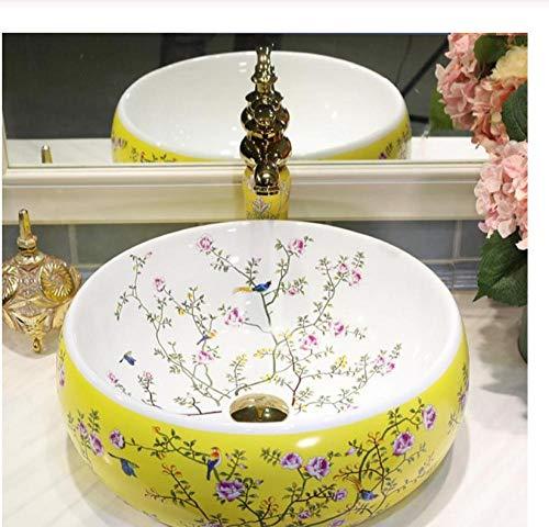 Zybnb Europe Vintage Style Art Comptoir Bassin Évier À La Main En Céramique Salle De Bains Vaisselle Lavabos Vanités salle de bains évier bol oiseau fleur-D