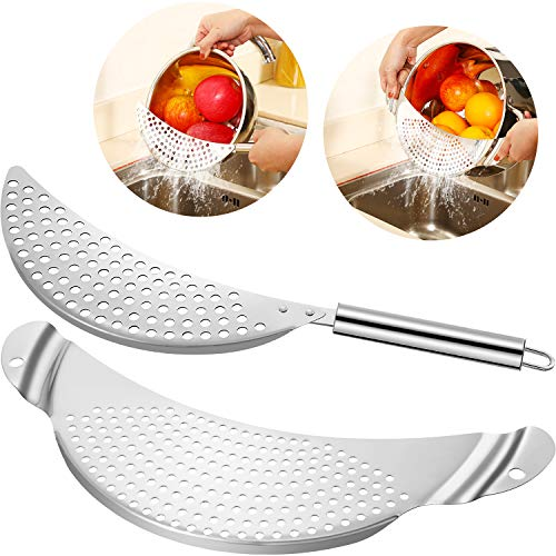 2 Pieces Pot Strainer Stainless Steel Crescent Pot Strainer with...