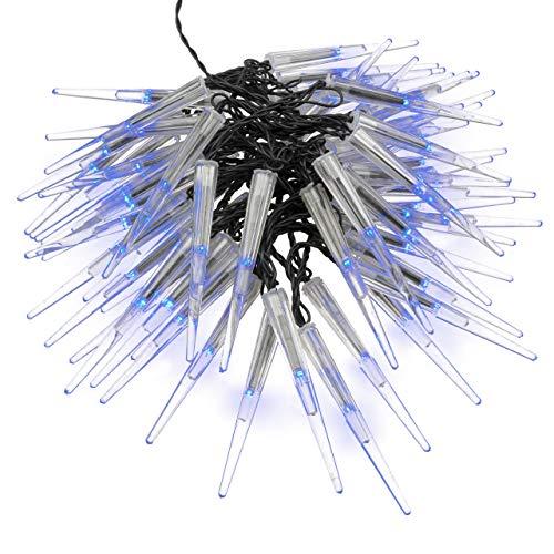 Nipach GmbH 60 LED Eiszapfenkettekette Lichterkette Leuchtfarbe blau für Innen Aussen Trafo Timer transparentes Kabel Weihnachtsdeko Länge 7,8 m Xmas