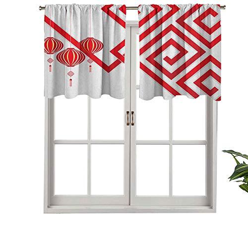 Hiiiman Cenefas de cortina con bolsillo para barra, elementos culturales chinos con vórtices de arte moderno con clase, juego de 2, 137 x 91 cm cortinas cortas para ventana de cocina