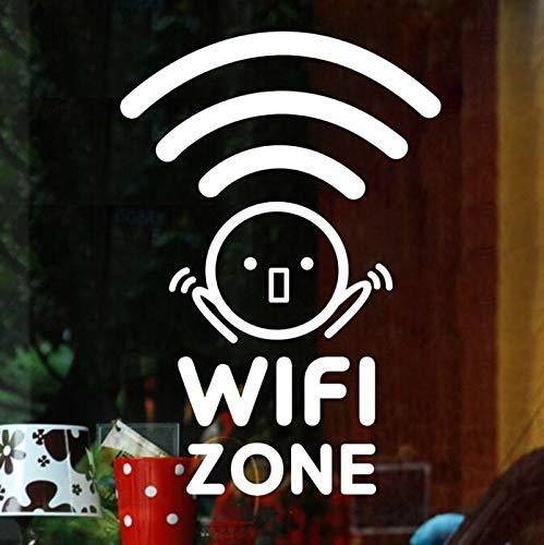 zqyjhkou WiFi Zone Wireless Internet Cafe Restaurant wandaufkleber Vinyl Kunst abnehmbare Poster muarl Dekoration für bürotür 39x55cm
