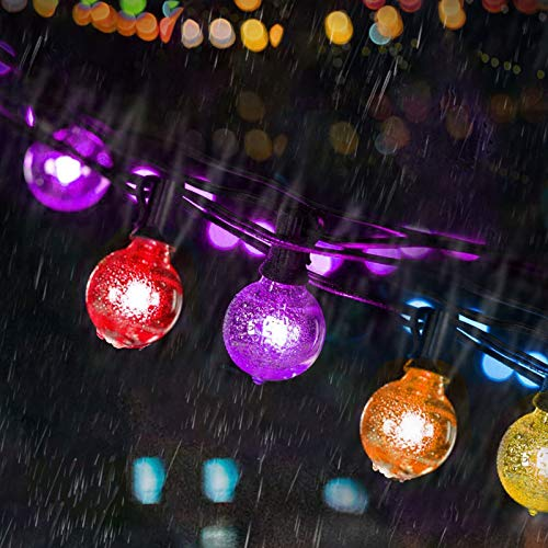 Colourful Outdoor String Lights LED, Bomcosy 100FT LED Festoon Lights Outdoor, Warm White 2700K & Multi-Colored, Dimmable Outside String Lights for Garden, Party, Bar, Cafe Shop, Patio, Waterproof