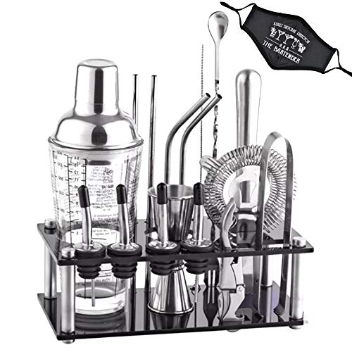 Vance Premium 17 Piece Bartender Kit With Acrylic Stand Including Face Mask, Unique Cocktail Shaker With Drink Recipes, For Home And Professional Use