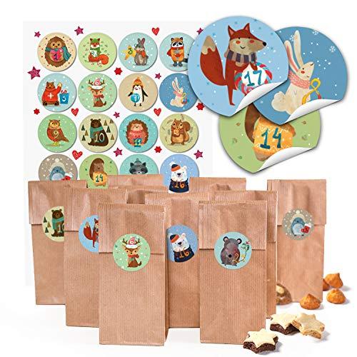 24 kleine braune Papier-Tüten Boden-Beutel mit Pergamin-Einlage 7 x 4 x 20,5 cm + 1 bis 24 Zahlen Aufkleber Winter-Tiere bunt basteln befüllen Advents-Kalender Kinder Weihnachten bio