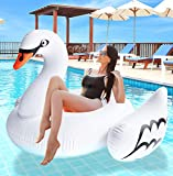 "Greenco Giant Inflatable Swan Pool Float Lounger, 74.5"" x 71.5"" x 46.5"""