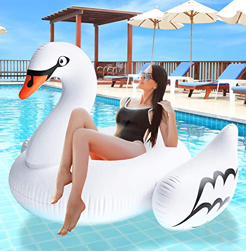 Greenco Giant Inflatable Swan Pool Float Lounger, 74.5' x 71.5' x 46.5'