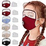 OVERMAL Cubierta_Facial Protectora para Exterioresa Antipolvo Algodón Máscárás Lavable Reutilizable de 6 Piezas con Protector de Ojos + 13 filtros para Niños