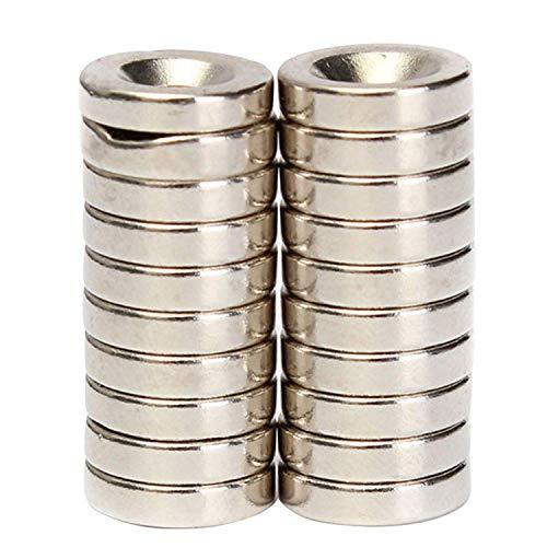 Ogquaton20x N50 Starke versenkte Ringmagnete 12 x 3 mm Loch 4 mm Seltenerd-Neodym Langlebig und nützlich