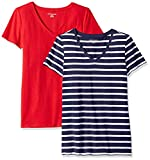 Amazon Essentials Women's 2-Pack Classic-Fit Short-Sleeve V-Neck Patterned T-Shirt, Navy Mariner Stripe/red, Large