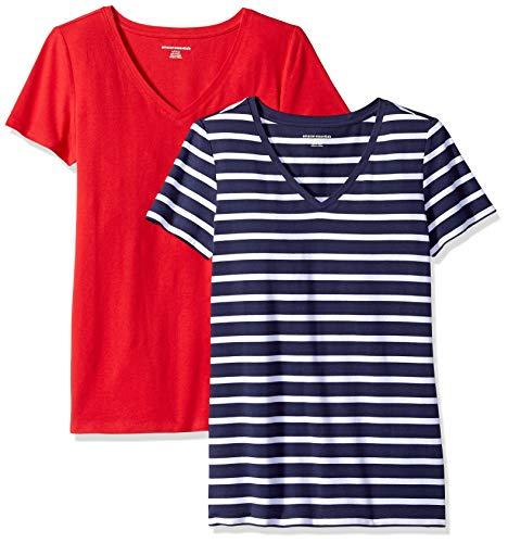 Amazon Essentials Women's 2-Pack Classic-Fit Short-Sleeve V-Neck Patterned T-Shirt, Navy Mariner Stripe/red, Medium