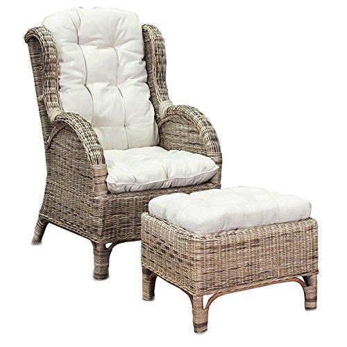 FineHome XXL Relaxfauteuil, mandfauteuil, oorfauteuil met voetenbank van rotan, incl. kussens, beige, tuinstoel, rotan stoel met kruk
