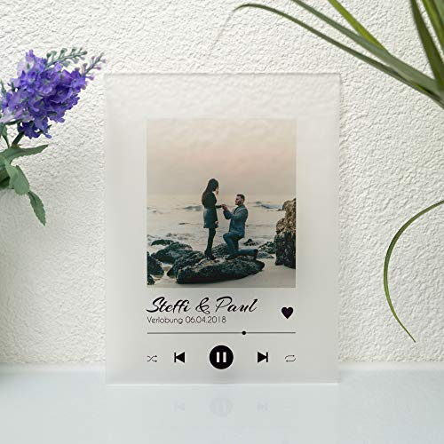 CHRISCK design Spotify Glas Bild - Song Cover Musikttafel mit Foto | Musiktitel, Künstler, Namen oder Anderer Widmung Geschenkidee für Partner Freund Familie | Moderne Wanddeko