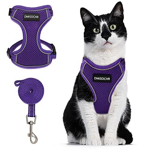 DMISOCHR 고양이 하네스 및 LEASH SET - 보행 외기를 위한 안전한 고양이 조해 방지 - 반사 조절 가능한 소프트 메쉬 호흡 가능 신체 하네스 - 소형 중형 대형 고양이의 손쉬운 제어