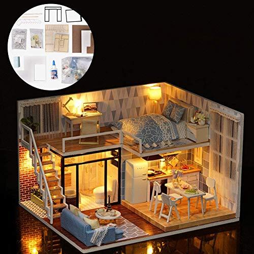 W.KING DIY Kit Dollhouse Miniature, 3D en Bois Mini Doll House Toy Assemblée Cuisine Salle De Bain Meubles Fun Kit Assemblé Jouet Cadeau pour Enfant