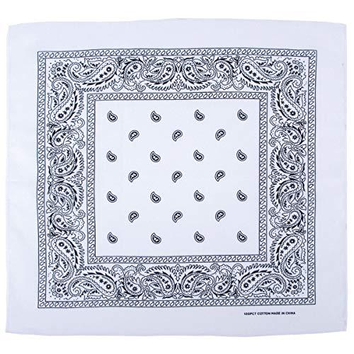 bandana, coton, 55 x 55 cm, Couleur:weiß