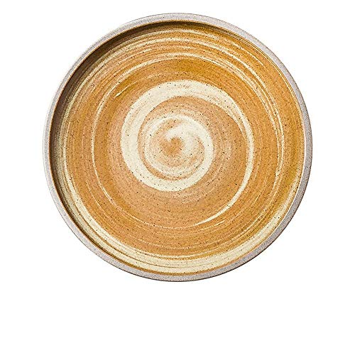 LILICEN Bandeja Pasta Piedra nórdica Filete Cacerola de cerámica Creativa Placa Occidental Pizza Placa Placa de los Cubiertos Naranja Amarillo 18cm