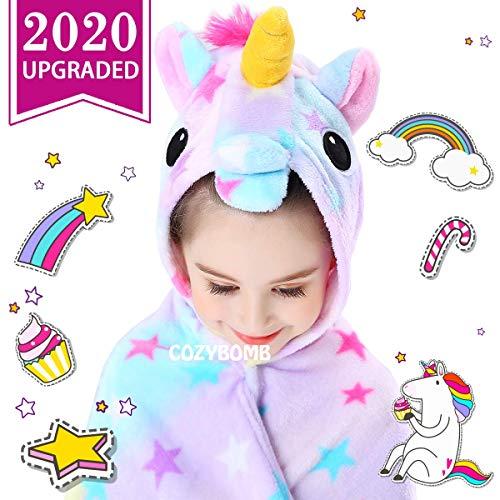 CozyBomB Rainbow Unicorns Gifts for Girls - Wearable Fleece Soft Throw Blanket for Kids Girl - Cute...