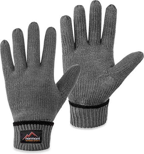 normani Wollhandschuhe Fingerhandschuhe mit Thinsulate™ Thermofutter und Fleece Innenmaterial - Strickhandschuhe für Damen und Herren (XS bis 4XL) Farbe Grau Größe S