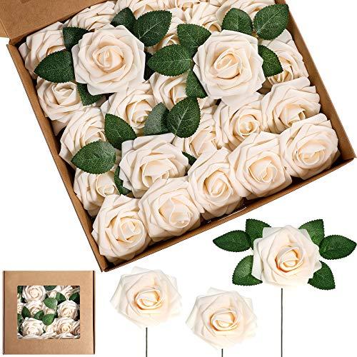 25 Stücke Künstlich Schaum Rose Blumen Vintage Gefälscht Rosen DIY Blumensträuße Boutonnieres mit Blättern und Stielen für Hochzeit Braut Shower Bankett Mittelstücke (Champagner)