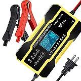Cargador Automático de Batería Inteligente 12V / 6A,Cargador de Batería de Coche Mantenedor de Batería Portátil con Pantalla LCD Enchufe de UE,Múltiples Protecciones para Coche/Camión/ATV(amarillo)